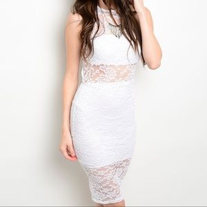 BOGO! Auditions White Lace Bodycon